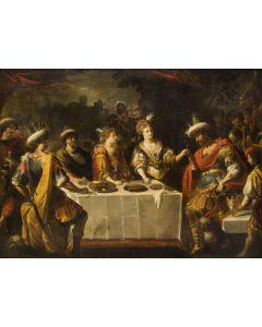 Hollandse School, 17e eeuw, 'Cleopatra en Antonius' , olieverf op doek