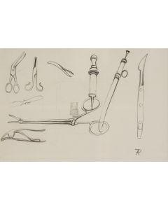 Anton Pieck, Medisch gereedschap, tekening, ca. 1930