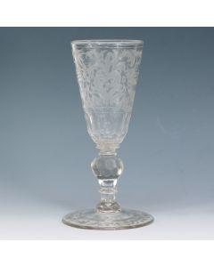 Gegraveerd wijnglas, 18e eeuw