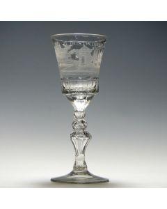 Gegraveerd wijnglas, D'Oostindische Compagnie (VOC), 18e eeuw