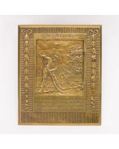 Bronzen plaquette, 'De bleeker', J.C. Wienecke, ca. 1930