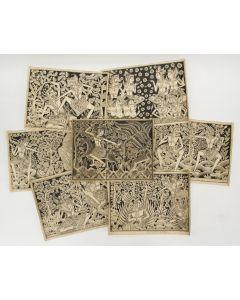 I Gedjer (Bedulu, Bali, ca. 1930), Scènes uit de Ramayana, serie van zeven inkttekeningen