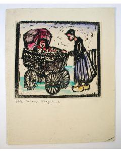 Stien Eelsingh, Staphorster vrouw met kinderwagen, houtsnede