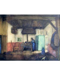 Riemko Holtrop, Twentse boerderij, aquarel, 1936