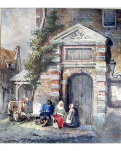 T.g.a. Salomon Verveer, Stadsgezicht, aquarel, ca. 1840