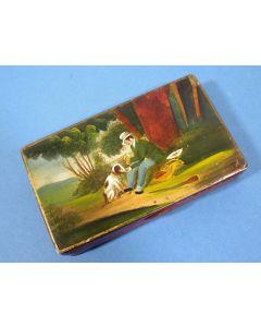 Blikken tabaksdoos met afbeelding van een rustende reiziger, 19e eeuw