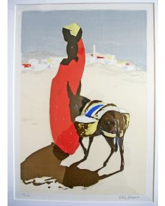 Ludwig Schwerin, Vrouw met ezel, kleurenlitho