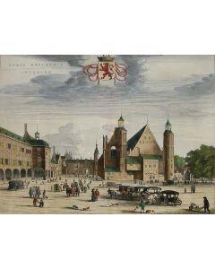 Handgekleurde prent van Het Binnenhof te Den Haag, uitgave Joan Blaeu, 1649