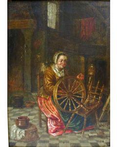 Hollandse School, Vrouw met spinnewiel, 17e eeuw