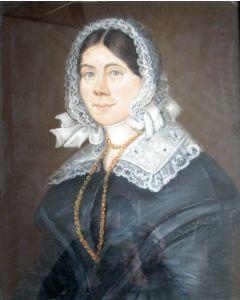Berend Kunst, portret van een dame met kanten muts, 1847