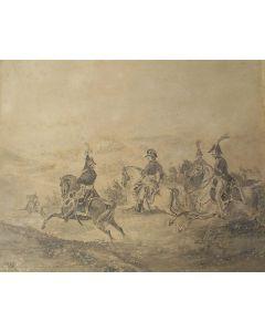 Charles Rochussen, Slag bij Waterloo, tekening