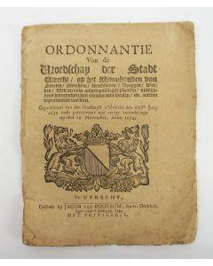 Ordonnantie van de Vroedschap der Stadt Utrecht op het schoonhouden van straten [...],1639