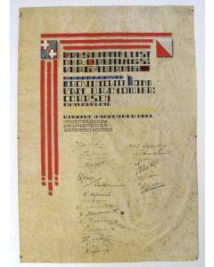 Presentielijst van de Openingsvergadering van de Utrechtse Provinciale Bond van Brandweercorpsen, 1922. Kalligrafie op perkament.
