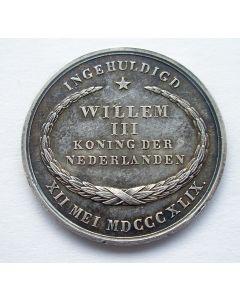 Strooipenning Inhuldiging Koning Willem III in zilver, 1849