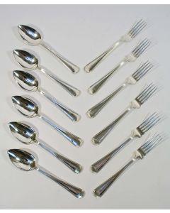 6 zilveren tafelcouverts, dubbelfilet, 1923