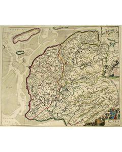 Handgekleurde kaart van Friesland door Schotanus á Sterringa, uitgave Frederick de Wit, ca. 1680