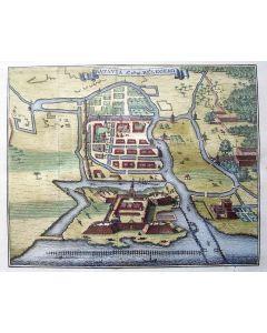 Plattegrond in vogelvlucht van de belegering van Batavia in 1629
