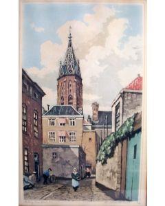 Hendrik de Laat, 'Grote Kerk Den Haag', kleurenets, ca. 1930