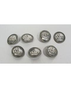 Zeven zilveren knopen met de Prins van Oranje, ca. 1820
