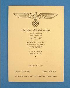 Programmaboekje van het 'Grosses Militärkonzert' in Tivoli Utrecht, 8 maart 1942