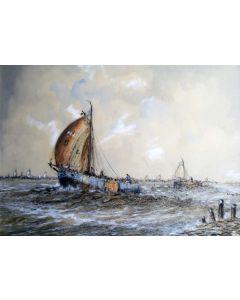 Wim Bos, Harderwijker vissersschepen op de Zuiderzee. pastel