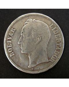 Venezuela, 5 bolivares zilver, 1886