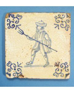 Figuurtegel, man met palingsteker, 17e eeuw