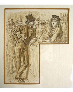 Johann Kachel, 'Dame en heer aan een tapkast', tekening, ca. 1860