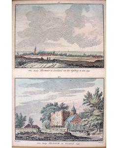 'Het dorp Huizen in Gooiland van den Tafelberg te zien, 1739' en 'Het Dorp Bussum in Gooiland, 1739'