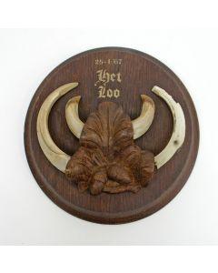 Trofee van een everzwijn, geschoten door Rien Poortvliet, Kroondomein het Loo, 1967