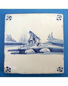 Tegel met ruiter, ca. 1800