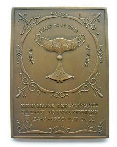 Plaquettepenning op het winnen van de beker 'Cercle de la Voile de Paris', Koninklijke Ned. Zeil- en Roeivereniging, 1926