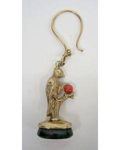 Gouden horlogehanger / signet, papegaai, 19e eeuw