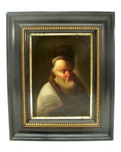 T.g.a. Christian Dietricy, 'Portret van een schriftgeleerde', paneel, 18e eeuw