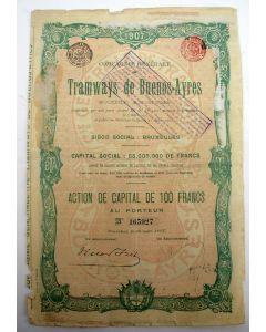 Aandeel, Tramways de Buenos-Ayres, 1907