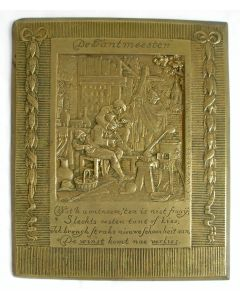 Bronzen plaquette, De tandarts ('tantmeester'), J.C. Wienecke, ca. 1930