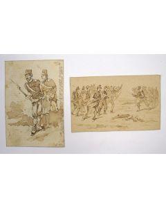 Twee sepiatekeningen, Frans-Duitse oorlog, 1871