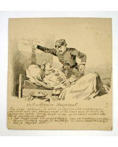 'In 't militaire Hospitaal', humoristische sepiatekening, ca. 1870