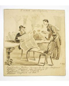 'Deutsch oder Englisch', humoristische sepiatekening,1870