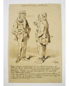 ' 't Goedkoope eethuis', humoristische sepiatekening,1870
