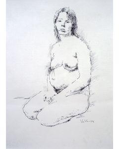 Aat Veldhoen, 'Lotje Veldhoen, zwanger',  pentekening