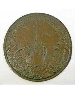 Bronzen plaquette, Nederlandsche Overzee Trust Maatschappij 1914-1919 {J.C. Wienecke]