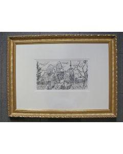 Charles Eyck, 'Kasteel Cortenbach... de oude garde', inkttekening, Voerendaal ca. 1970