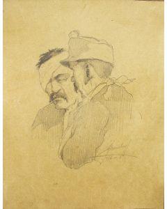 Twee gewonde Oostenrijkse soldaten, tekening, 1916