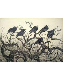 Theo van Hoytema, 'Kraaien in een boom', litho, ca. 1910