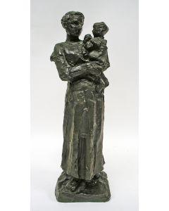 Lambertus Zijl, 'Moeder met kind', bronzen sculptuur, 1917