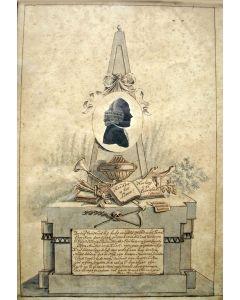 Memorietekening ter gedachtenis aan Abraham Beaumond, organist en beiaardier te Leiden, overleden 1794