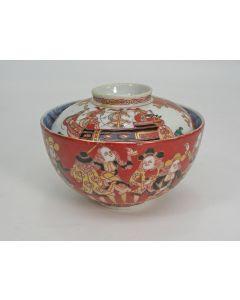 Japanse porseleinen dekselkom met Hollanders en driemasters, 19e eeuw