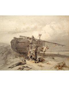 Charles Rochussen, Bomschuit op het duin van Scheveningen, aquarel, 1842