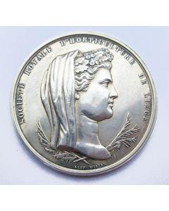 Zilveren beloningspenning, Societé Royale d'Horticulture de Liège, op naam van een Maastrichtse apotheker, 1881 [door Leopold Wiener],